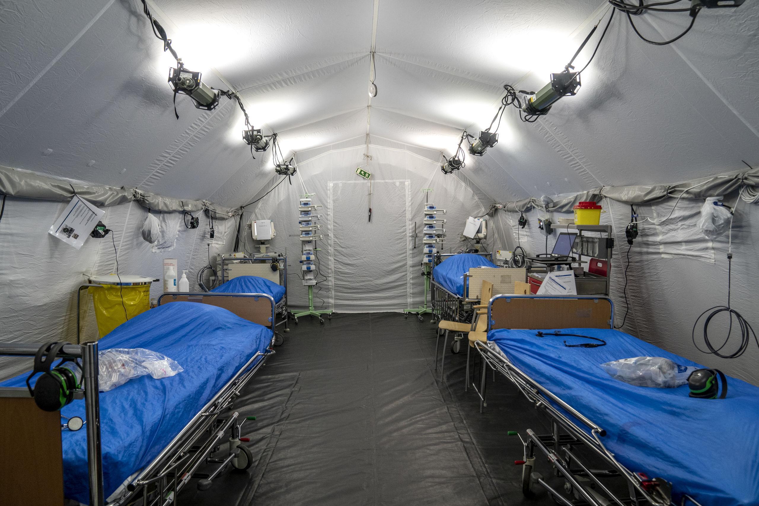 Halmstadsoldater arbetar på fältsjukhuset i Göteborg