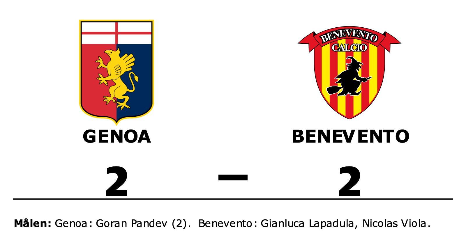 Genoa och Benevento delade på poängen efter 2-2
